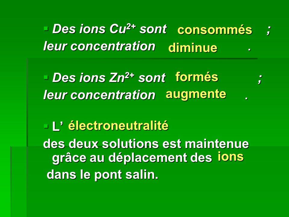 Des ions Cu2+ sont ; leur concentration . Des ions Zn2+ sont ;