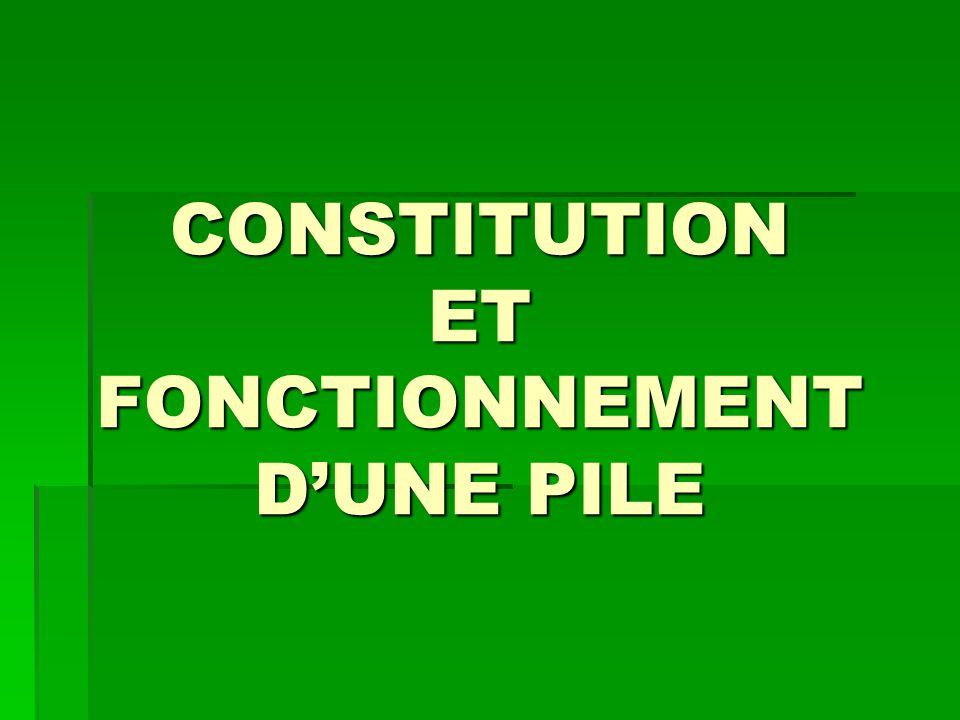 CONSTITUTION ET FONCTIONNEMENT D'UNE PILE