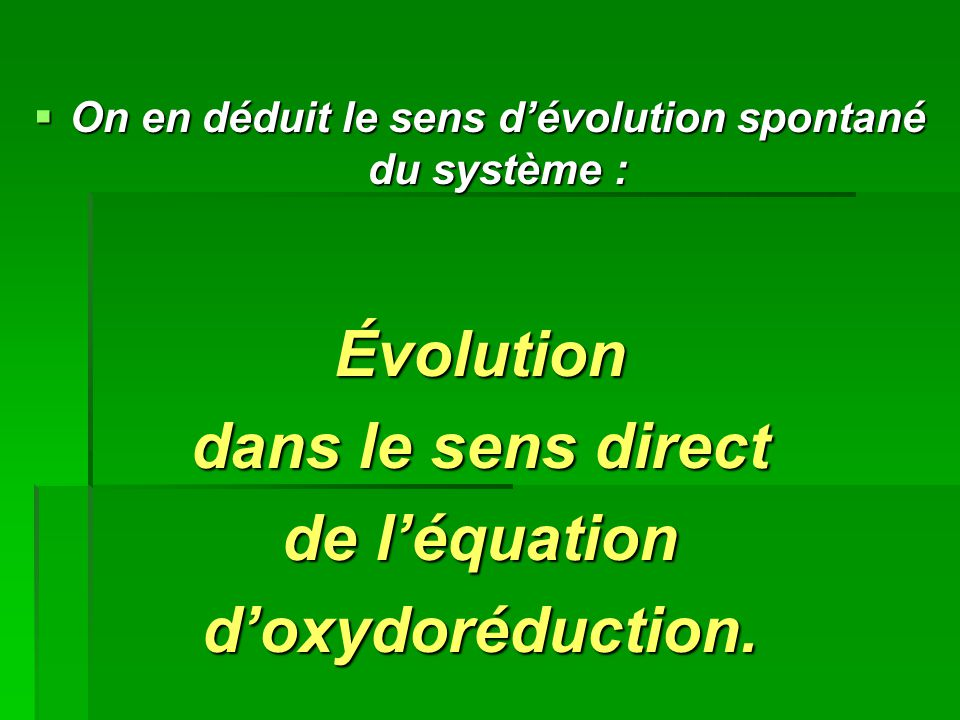 On en déduit le sens d'évolution spontané du système :