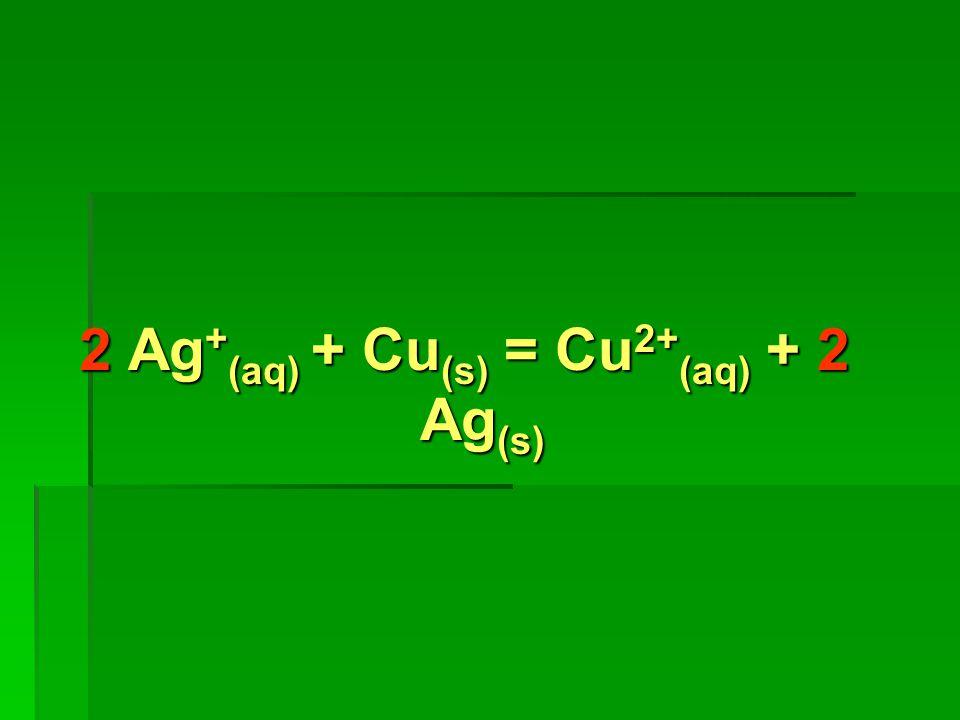 2 Ag+(aq) + Cu(s) = Cu2+(aq) + 2 Ag(s)