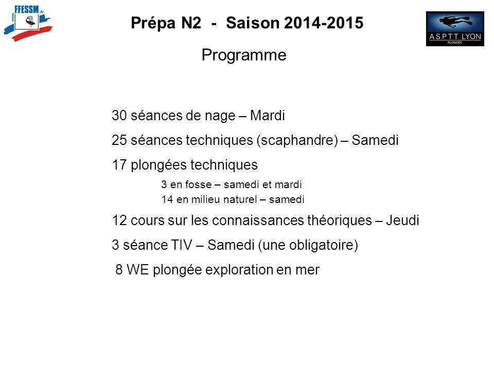 Prépa N2 - Saison 2014-2015 Programme 30 séances de nage – Mardi