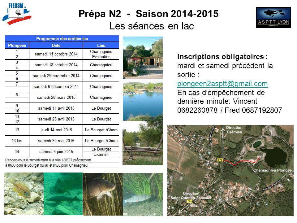 Prépa N2 - Saison 2014-2015 Les séances en lac