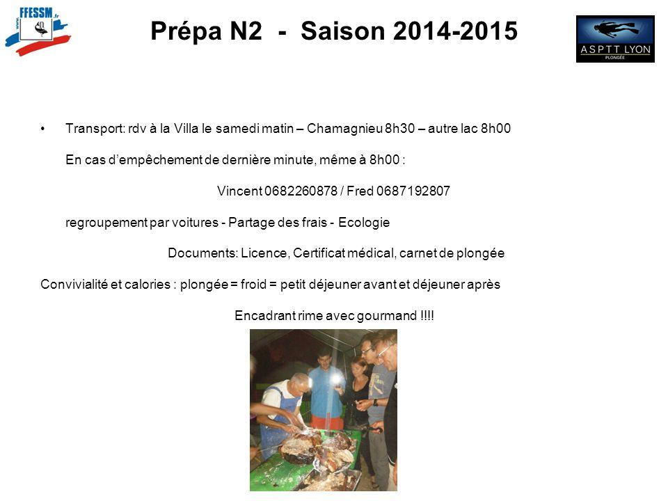 Prépa N2 - Saison 2014-2015 Transport: rdv à la Villa le samedi matin – Chamagnieu 8h30 – autre lac 8h00.