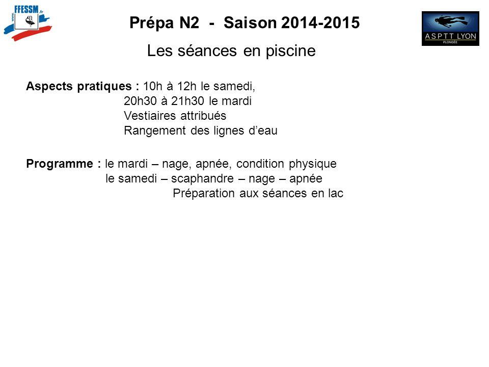 Prépa N2 - Saison 2014-2015 Les séances en piscine