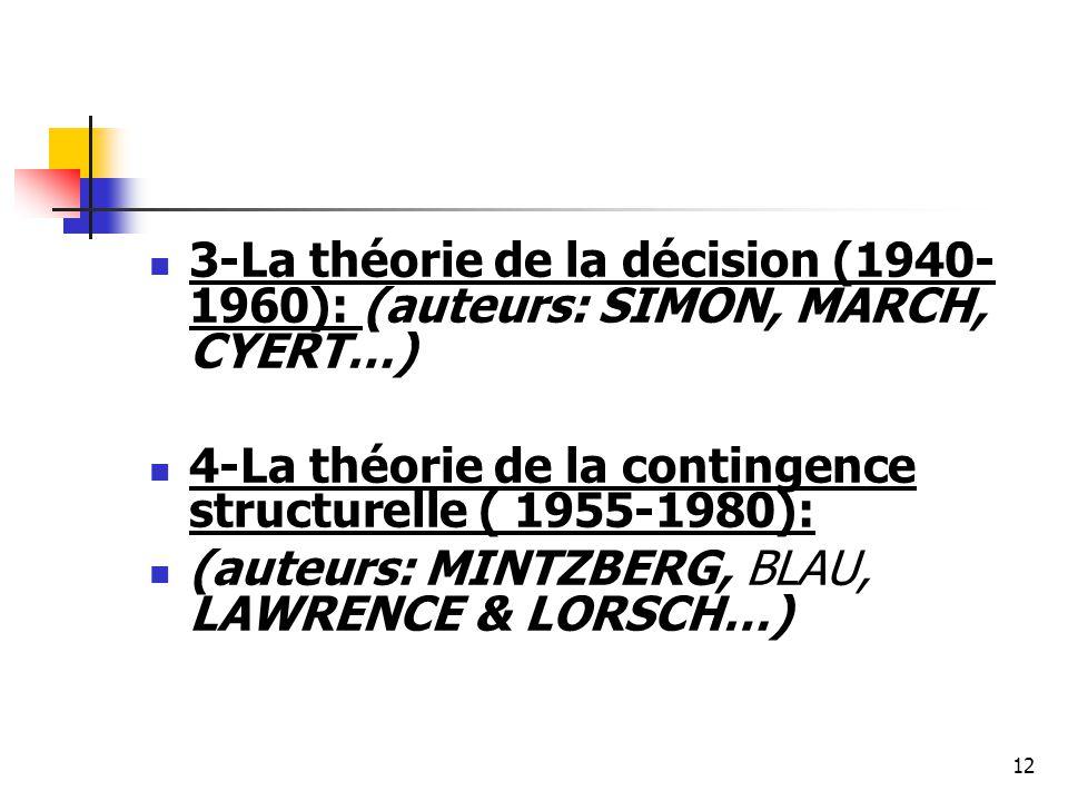 3-La théorie de la décision (1940-1960): (auteurs: SIMON, MARCH, CYERT…)