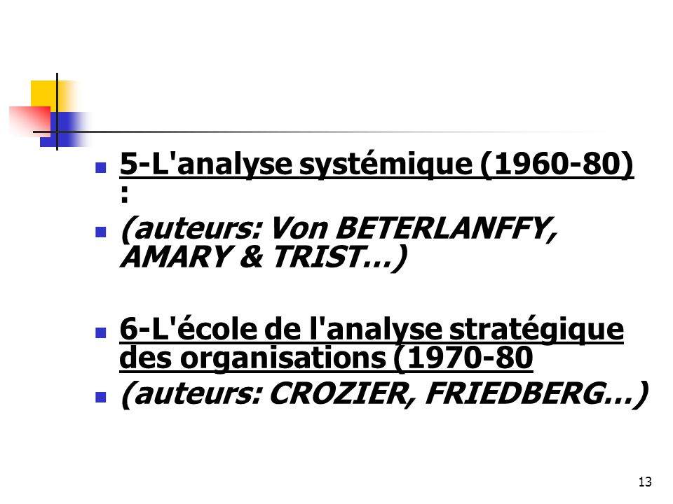 5-L analyse systémique (1960-80) :