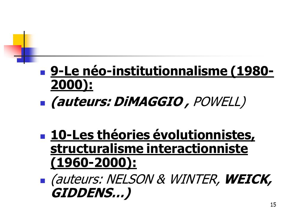9-Le néo-institutionnalisme (1980-2000):