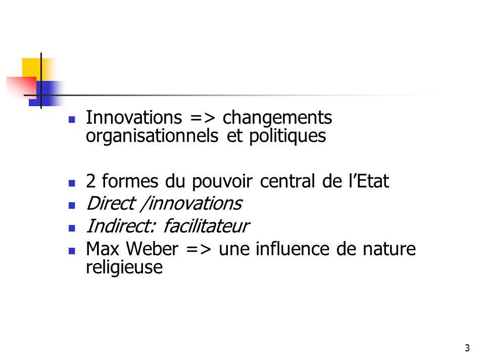 Innovations => changements organisationnels et politiques