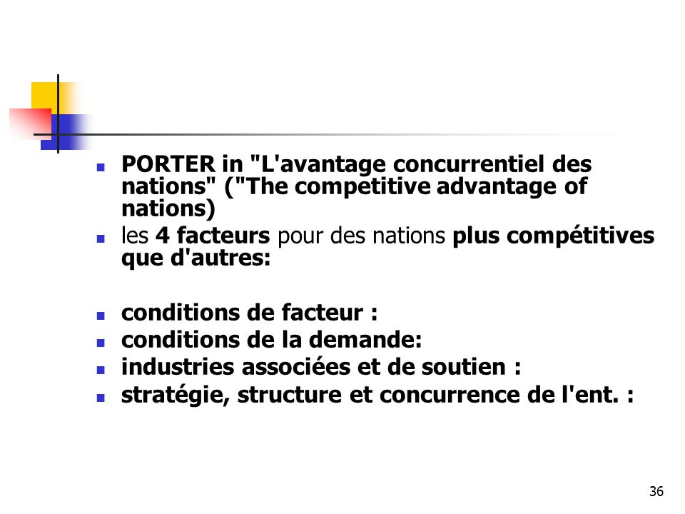 PORTER in L avantage concurrentiel des nations ( The competitive advantage of nations)