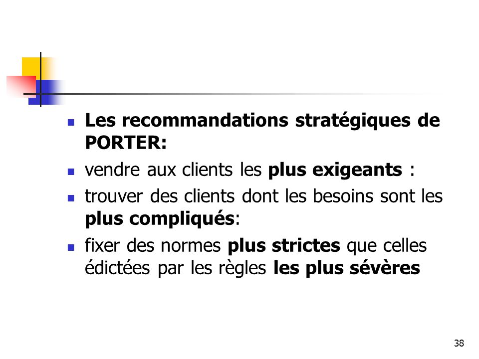 Les recommandations stratégiques de PORTER: