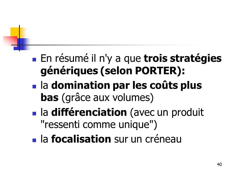 En résumé il n y a que trois stratégies génériques (selon PORTER):