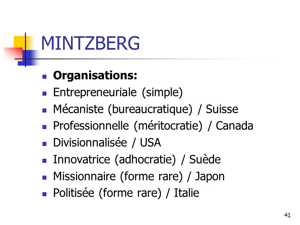 MINTZBERG Organisations: Entrepreneuriale (simple)