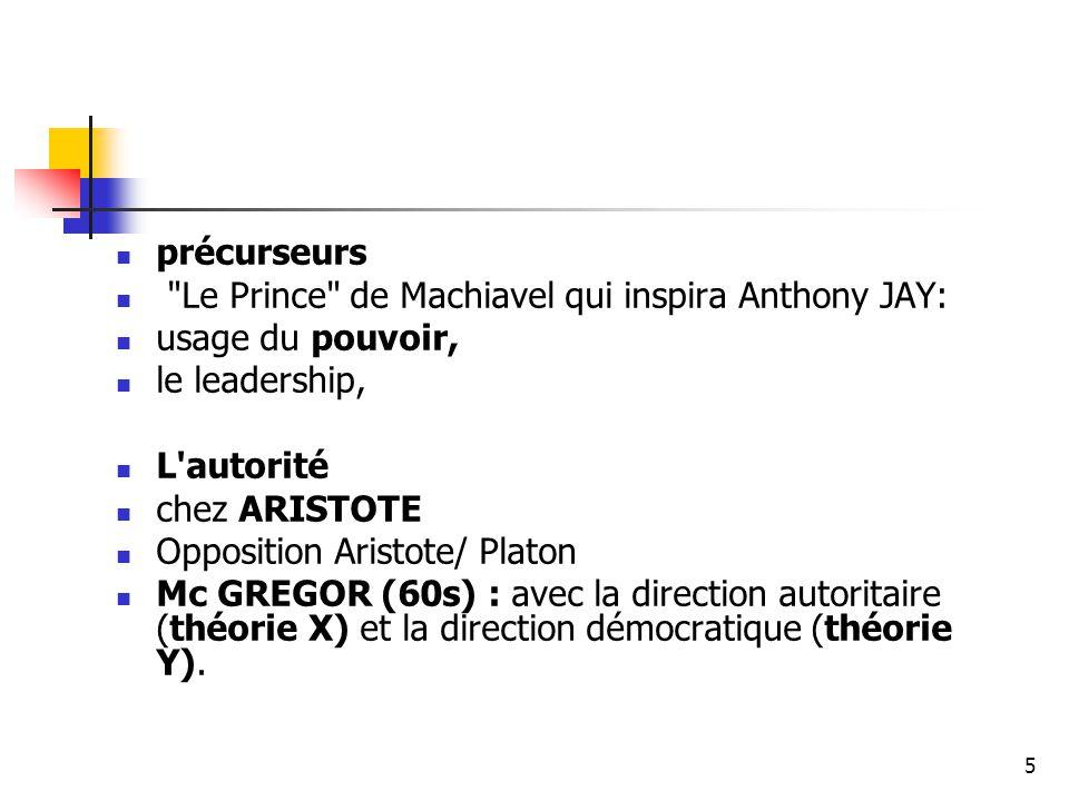 précurseurs Le Prince de Machiavel qui inspira Anthony JAY: usage du pouvoir, le leadership, L autorité.