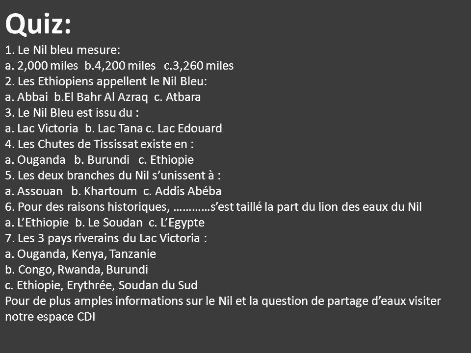 Quiz: 1. Le Nil bleu mesure: