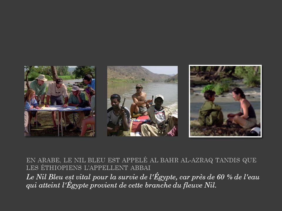 En arabe, le Nil Bleu est appelé Al Bahr al-Azraq tandis que les Éthiopiens l'appellent Abbai