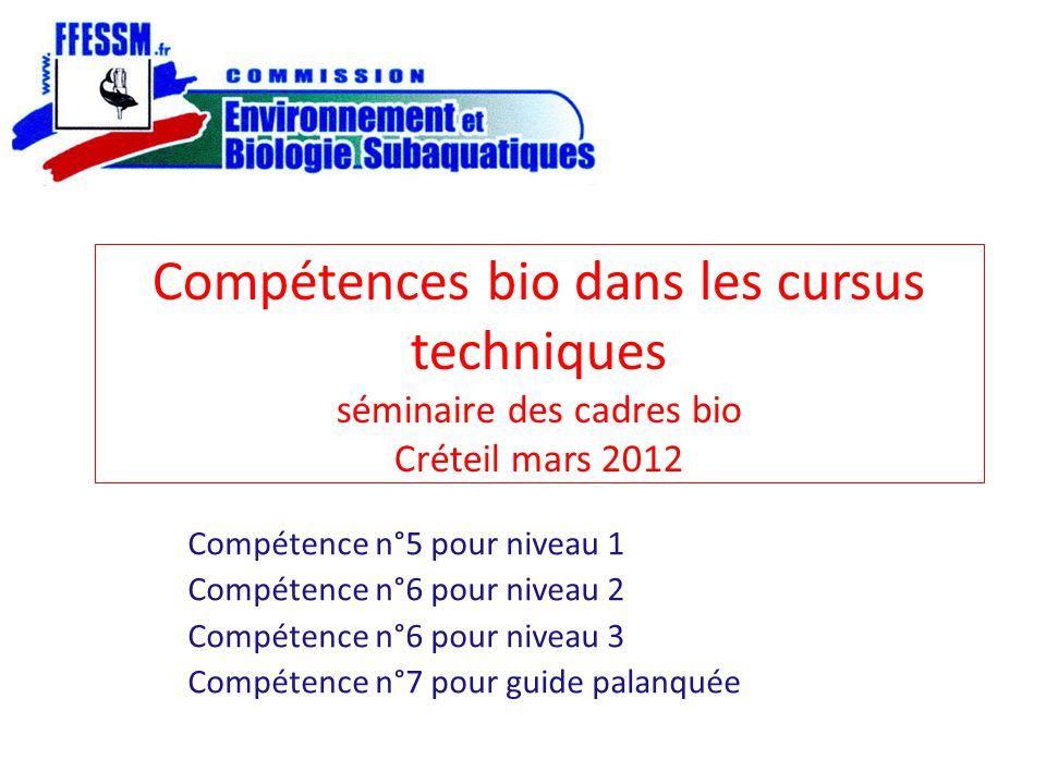 Compétences bio dans les cursus techniques séminaire des cadres bio Créteil mars 2012