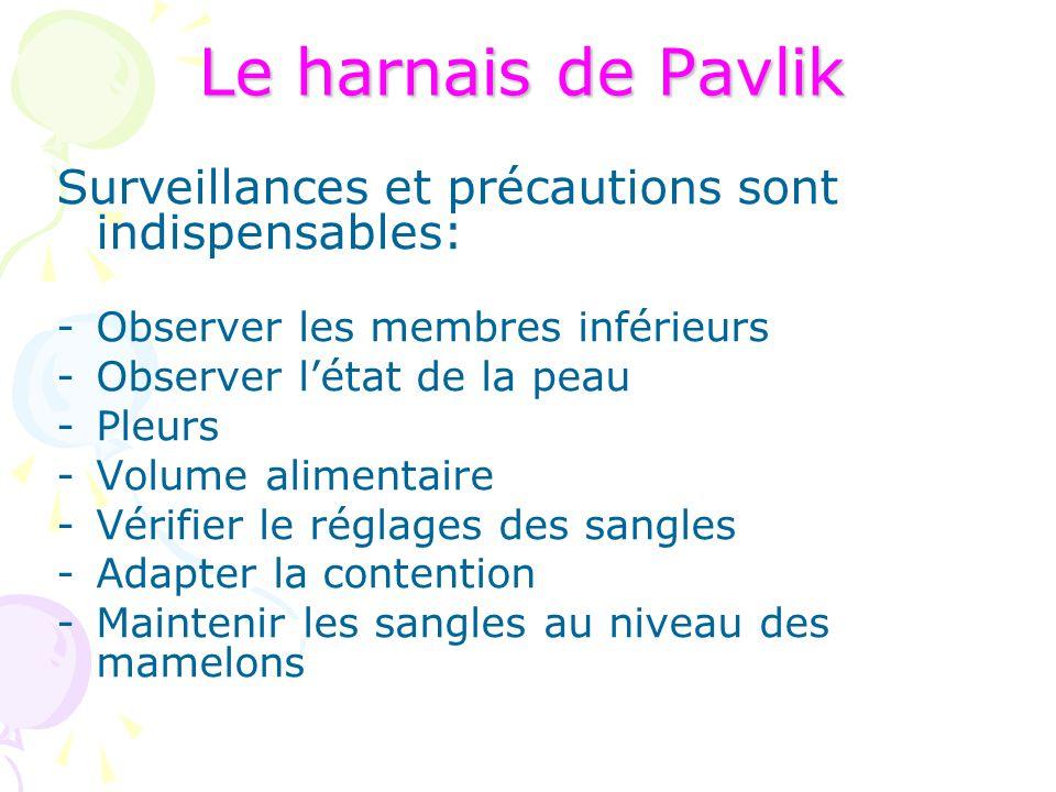 Le harnais de Pavlik Surveillances et précautions sont indispensables: