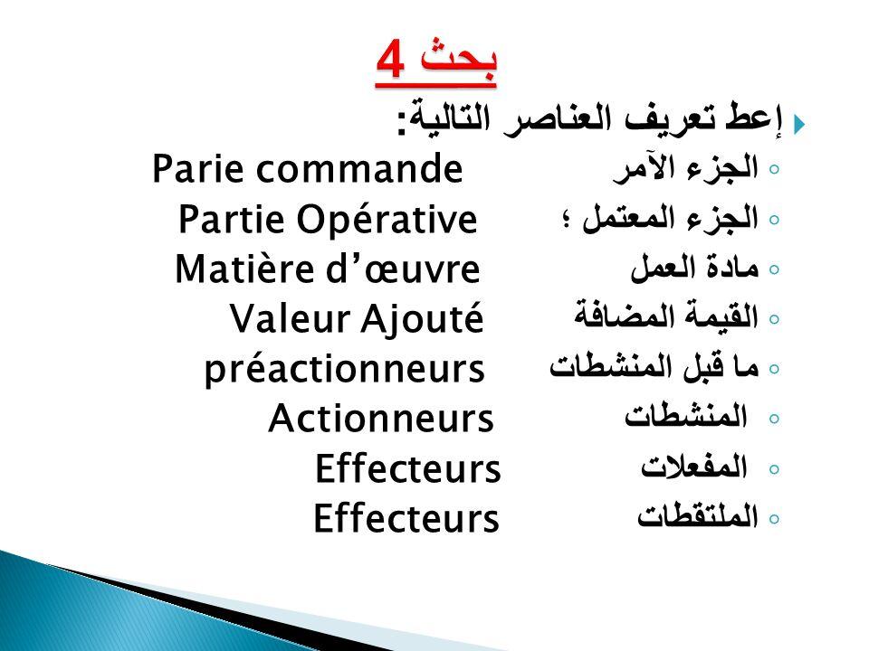 بحث 4 إعط تعريف العناصر التالية: الجزء الآمر Parie commande