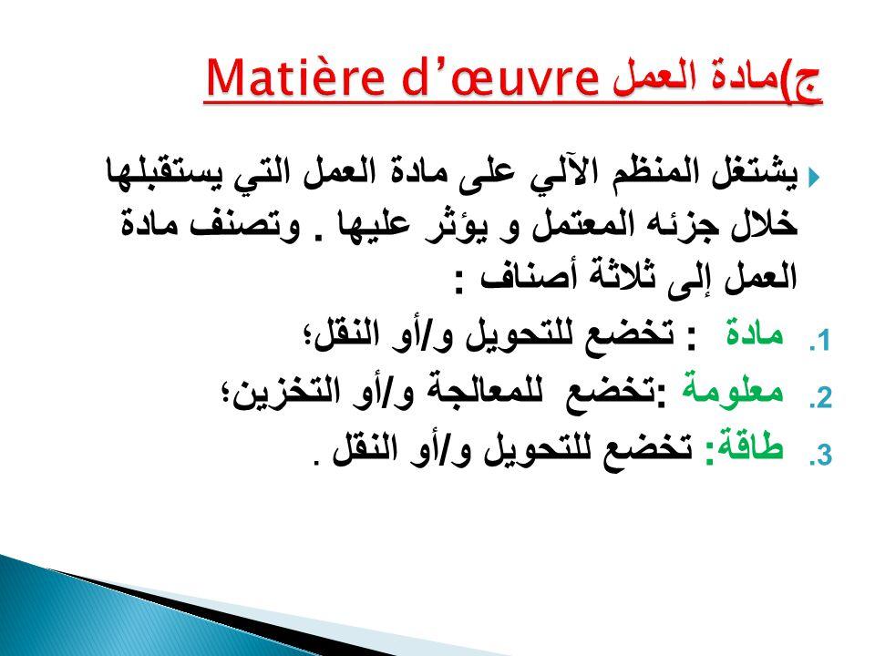 ج)مادة العمل Matière d'œuvre