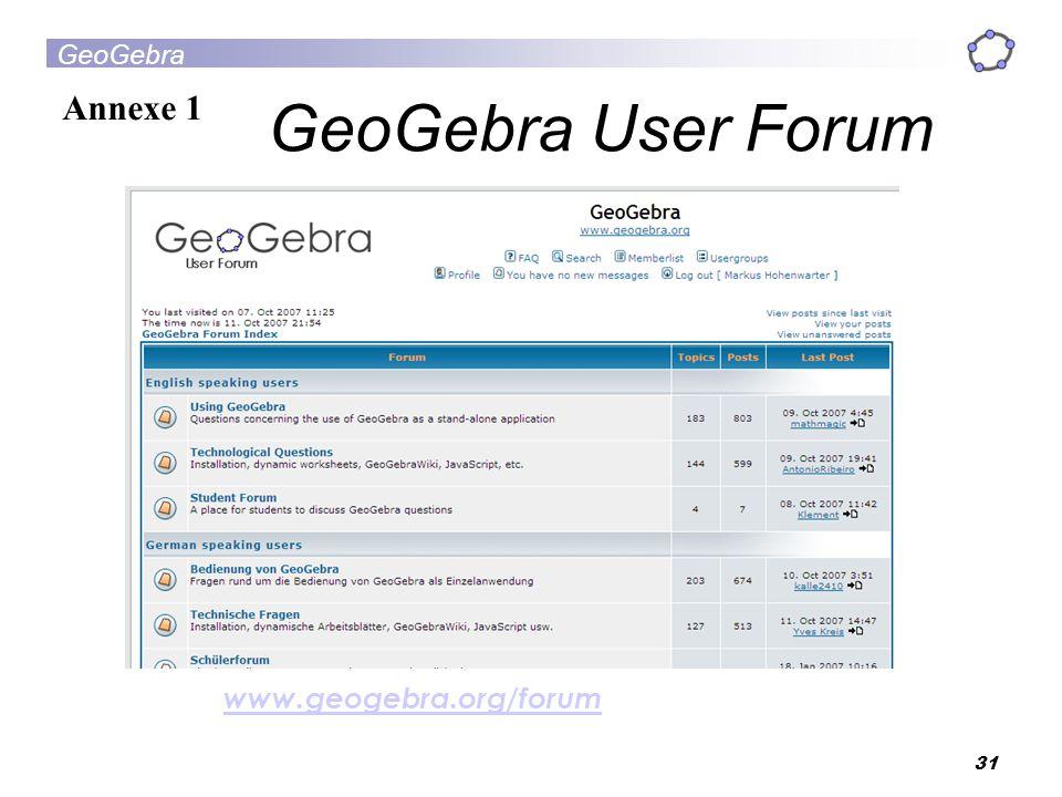 GeoGebra User Forum Annexe 1 www.geogebra.org/forum 31