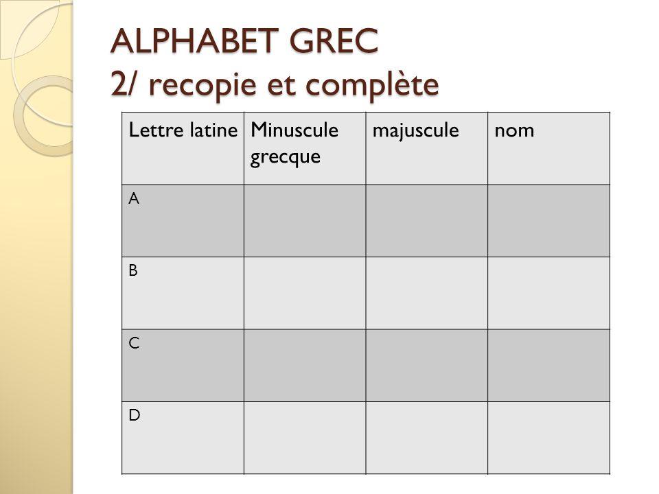 ALPHABET GREC 2/ recopie et complète