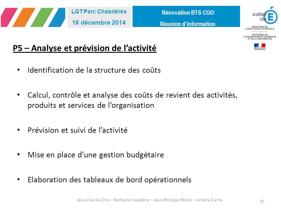 P5 – Analyse et prévision de l'activité