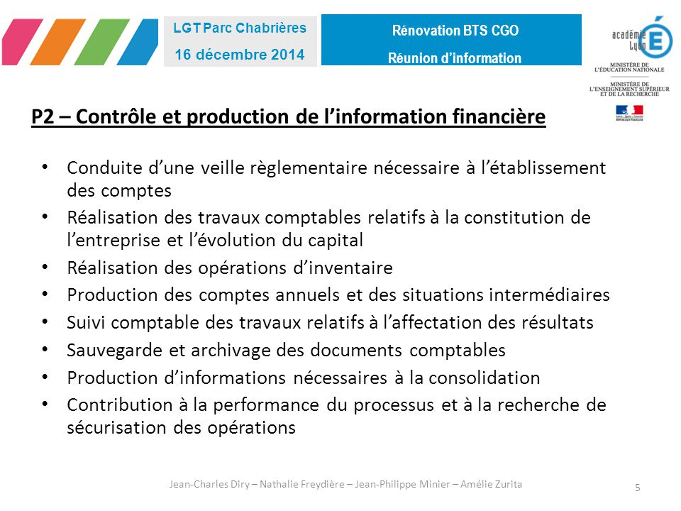 P2 – Contrôle et production de l'information financière