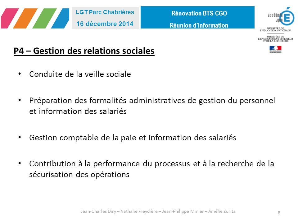P4 – Gestion des relations sociales