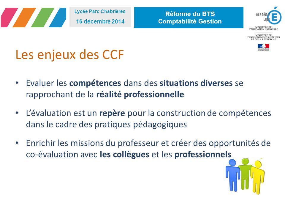 Lycée Parc Chabrières 16 décembre 2014. Réforme du BTS. Comptabilité Gestion. Les enjeux des CCF.