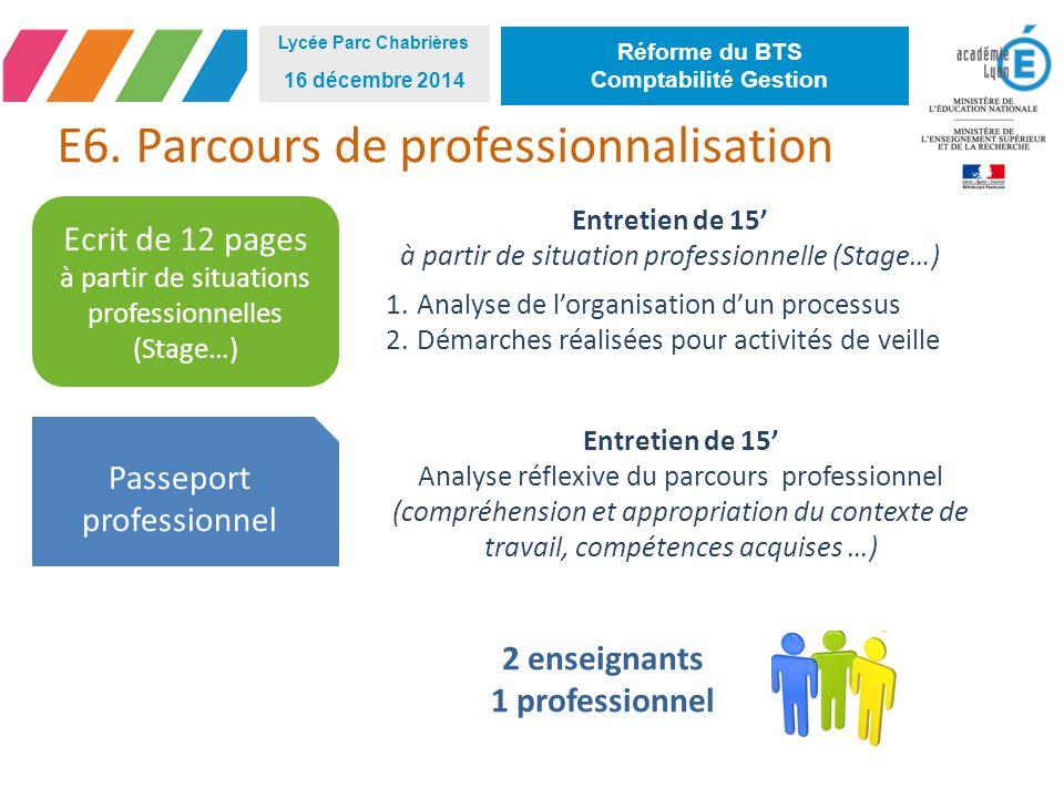 E6. Parcours de professionnalisation