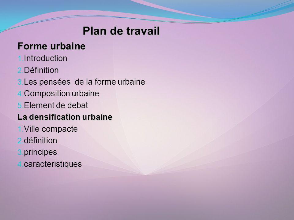 Forme urbaine Plan de travail Introduction Définition