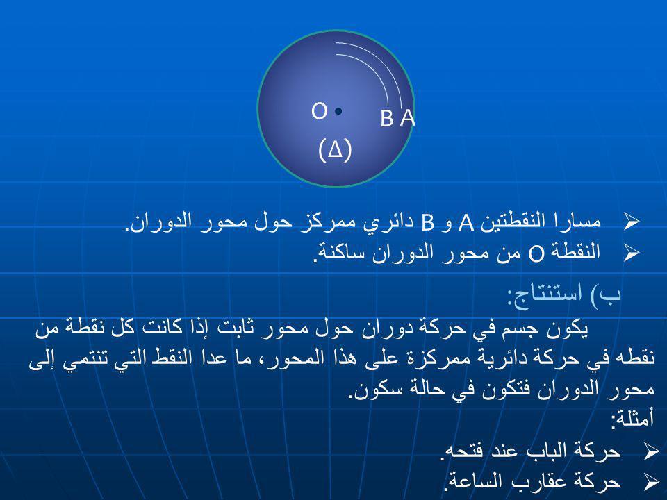 ب) استنتاج: O B A (∆) مسارا النقطتين AوB دائري ممركز حول محور الدوران.