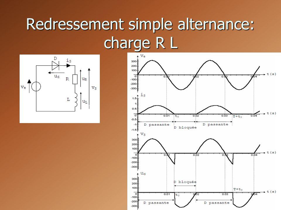 Redressement simple alternance: charge R L