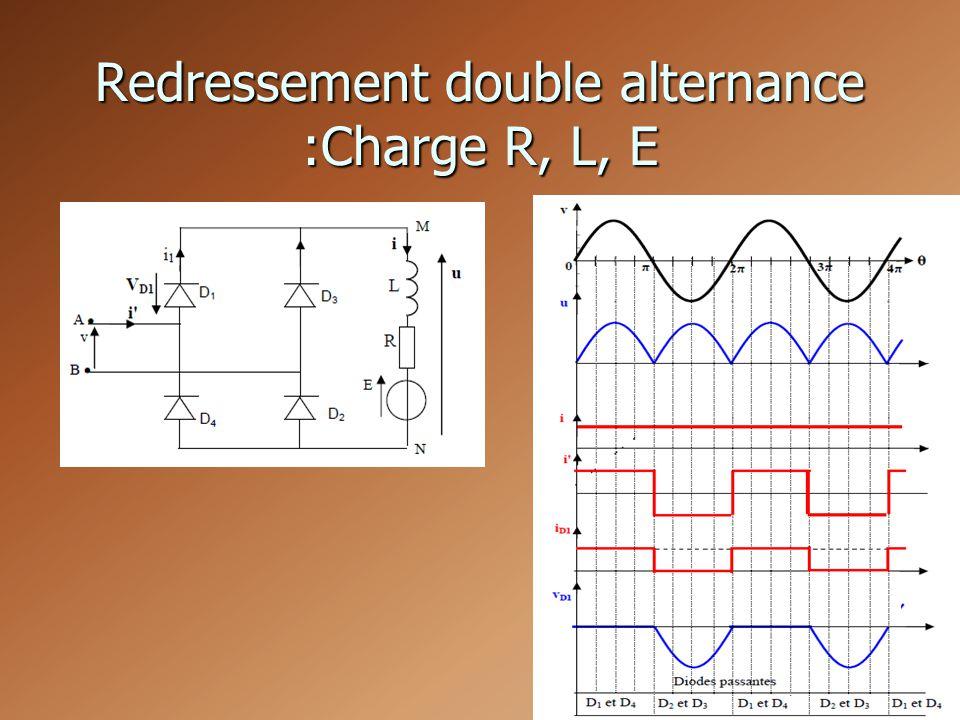 Redressement double alternance :Charge R, L, E