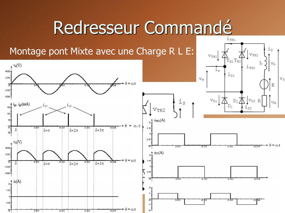 Redresseur Commandé Montage pont Mixte avec une Charge R L E: