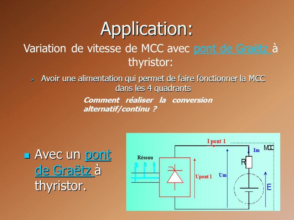 Variation de vitesse de MCC avec pont de Graëtz à thyristor: