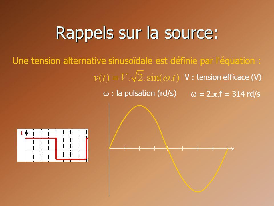 Rappels sur la source: Une tension alternative sinusoïdale est définie par l équation : V : tension efficace (V)