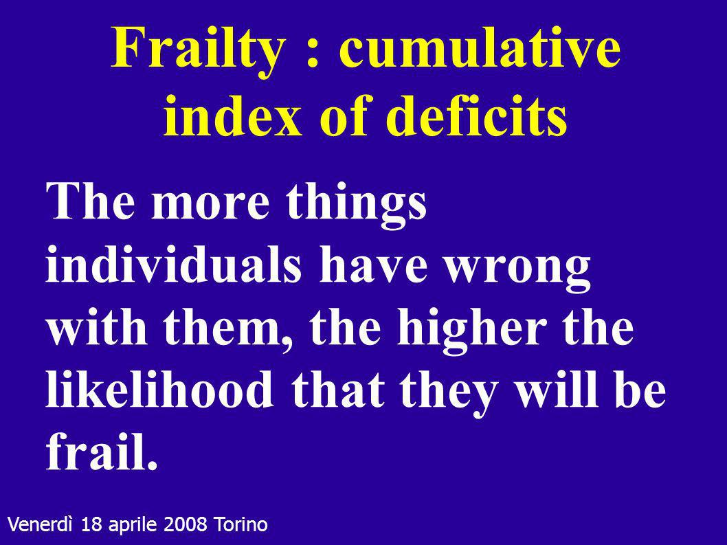 Frailty : cumulative index of deficits