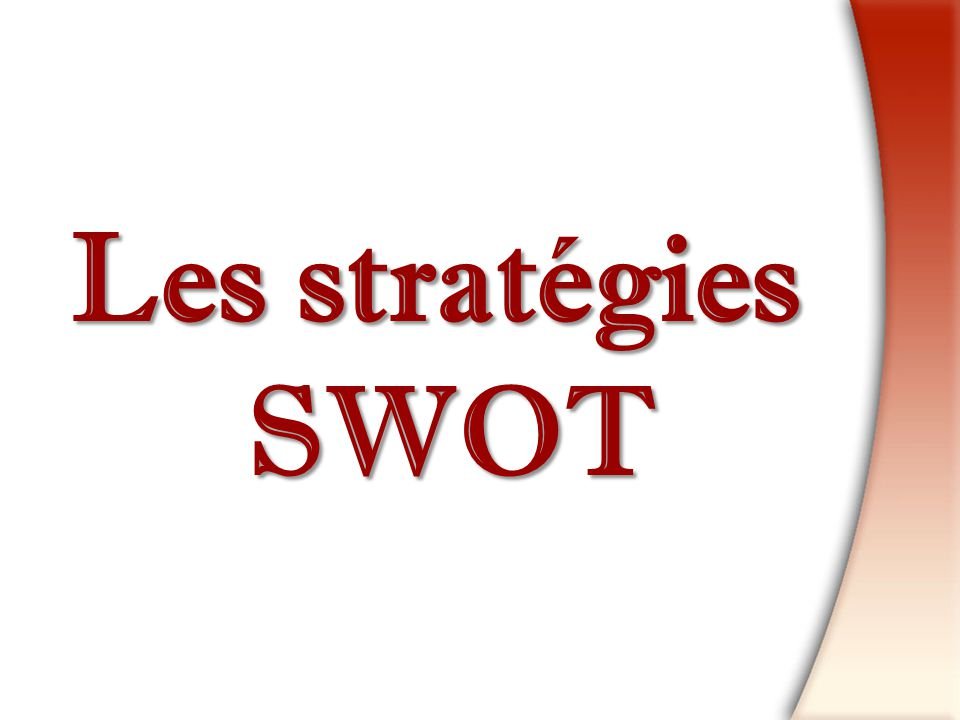 Les stratégies SWOT