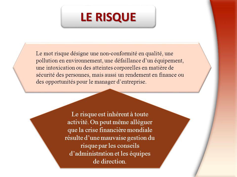 LE RISQUE Le mot risque désigne une non-conformité en qualité, une. pollution en environnement, une défaillance d'un équipement,
