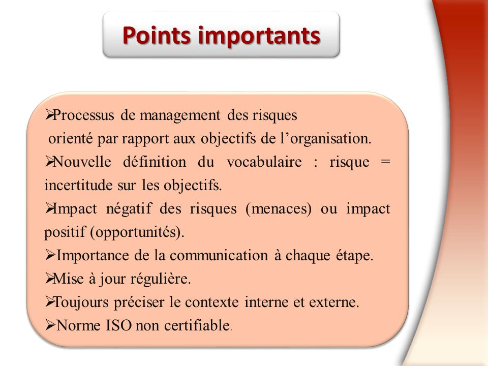 Points importants Processus de management des risques