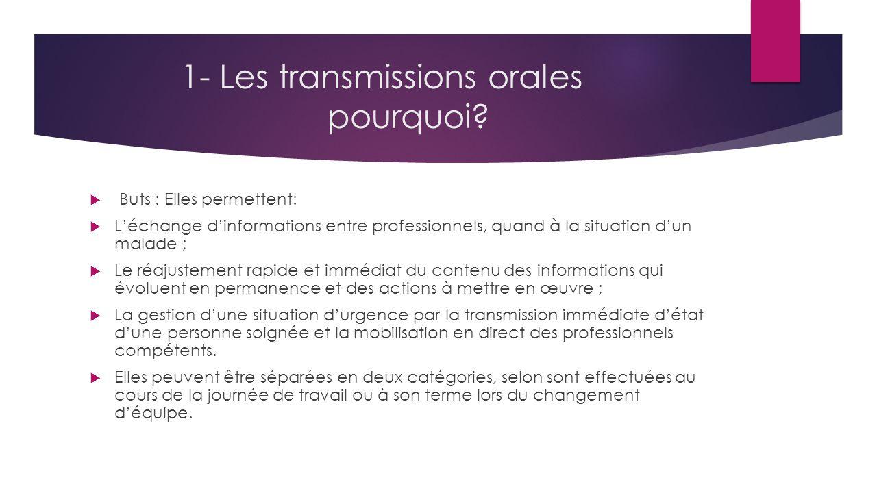 1- Les transmissions orales pourquoi