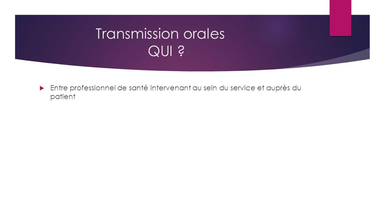 Transmission orales QUI