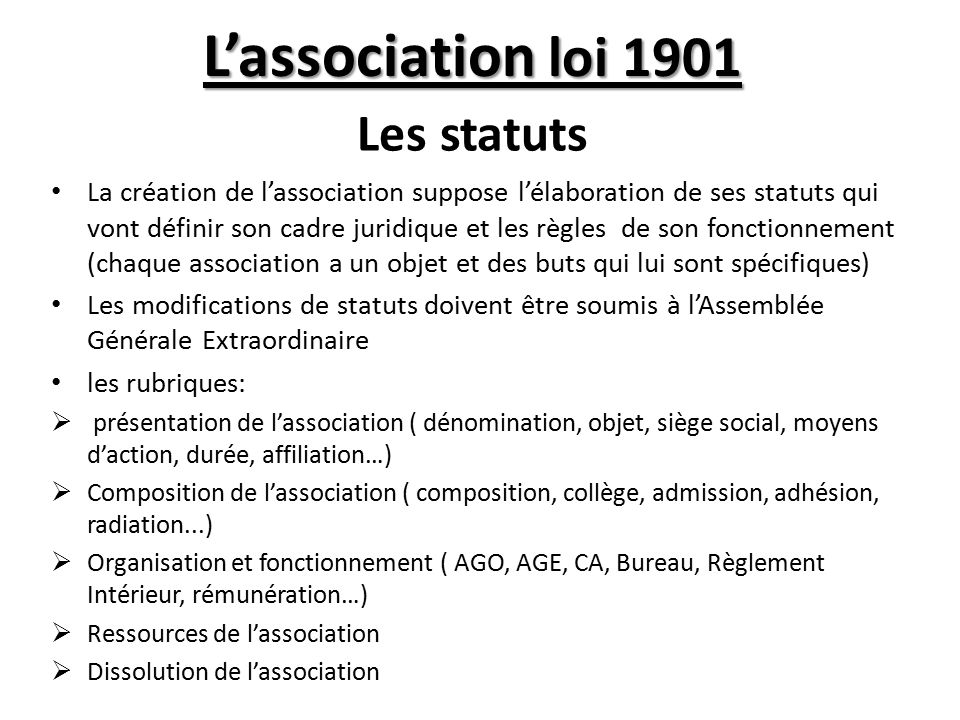 L association loi 1901 les statuts ppt video online - Renouvellement d un bureau association loi 1901 ...