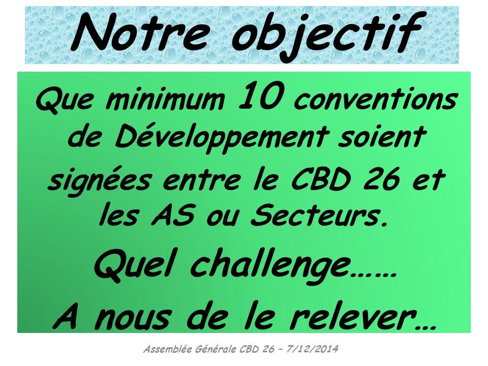 Notre objectif Quel challenge…… A nous de le relever…