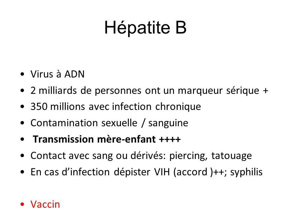 Hépatite B Virus à ADN. 2 milliards de personnes ont un marqueur sérique + 350 millions avec infection chronique.
