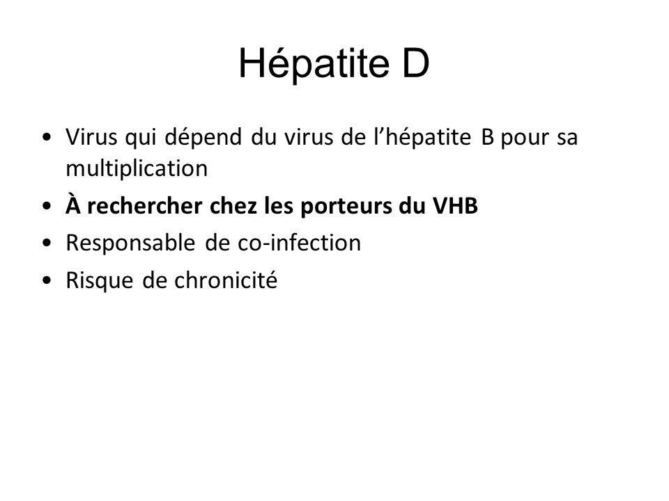 Hépatite D Virus qui dépend du virus de l'hépatite B pour sa multiplication. À rechercher chez les porteurs du VHB.