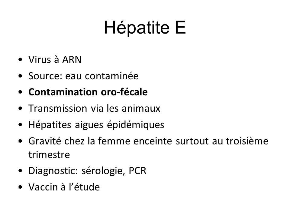 Hépatite E Virus à ARN Source: eau contaminée Contamination oro-fécale