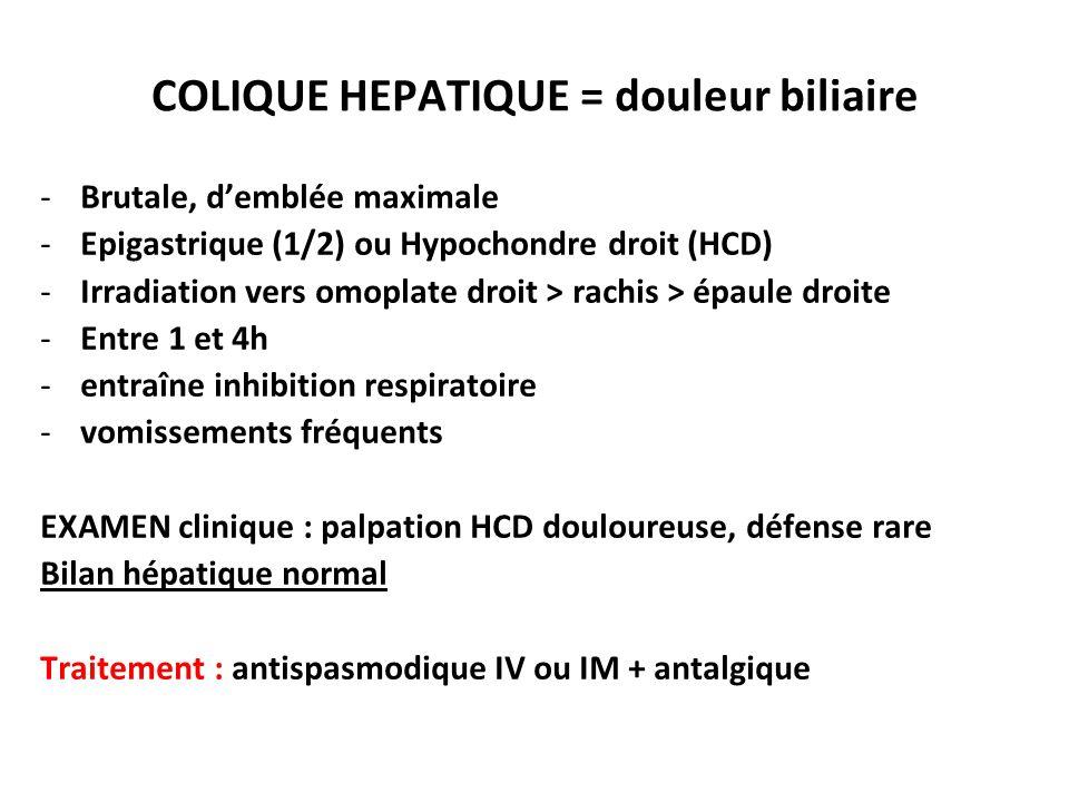 COLIQUE HEPATIQUE = douleur biliaire
