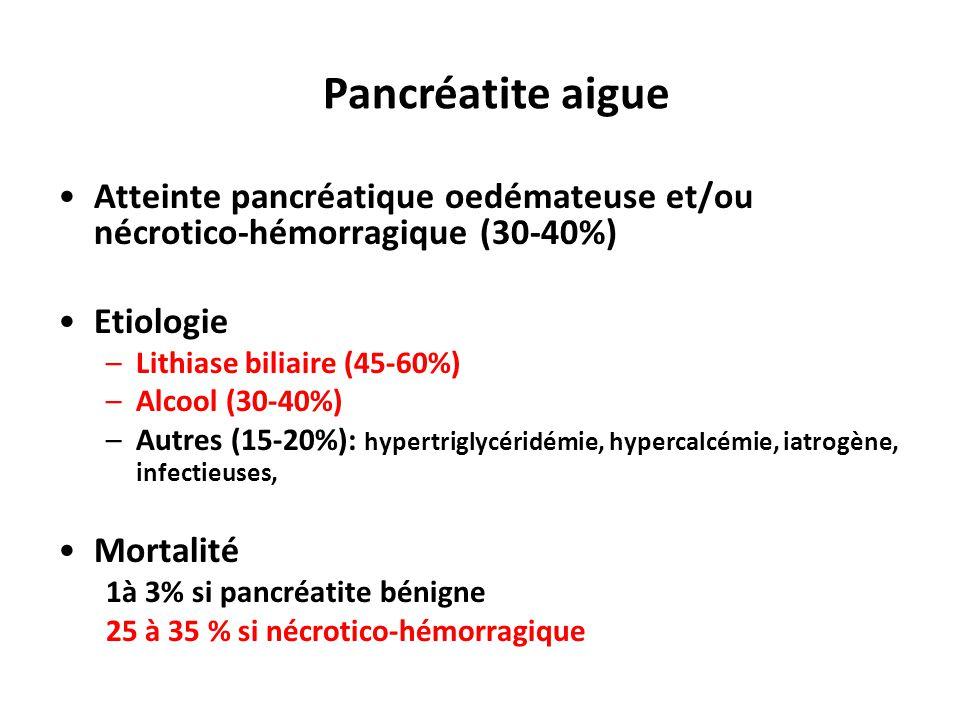 Pancréatite aigue Atteinte pancréatique oedémateuse et/ou nécrotico-hémorragique (30-40%) Etiologie.
